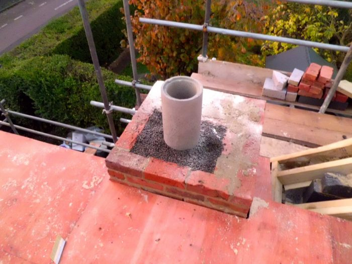 Chimney Construction ready for Chimney DPC.