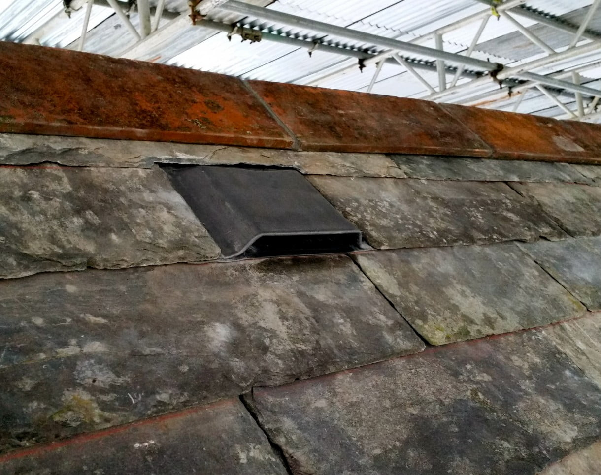 A stripped and re-layed roof of slate with Bat Access fitted along with 7 others on this roof